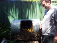 Inside a home made compost tumbler