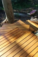 decking forms an interesting path in an awkward space