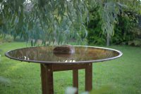 spun copper bird bath by mallee design