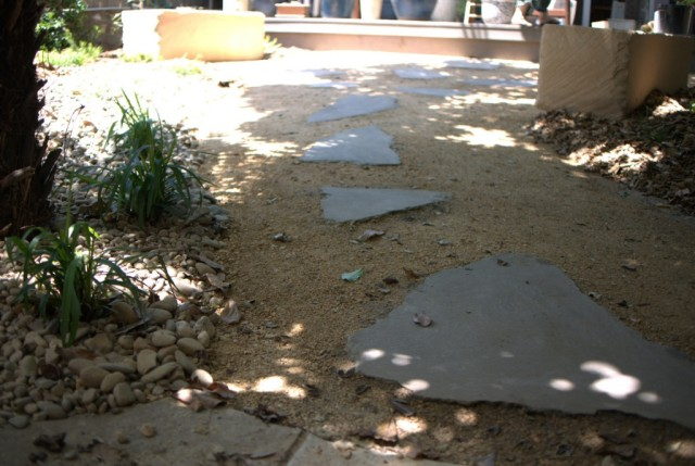 recycled concrete steps set in crushed granite