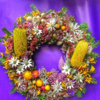 Australian native flowers wreath from the wildflower place erina