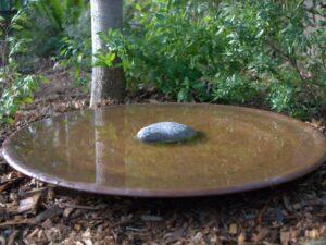 spun copper bird bath