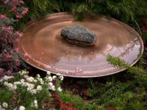 Large spun copper dish - wonderful bird bath
