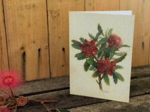 Australian wildflower card Waratah
